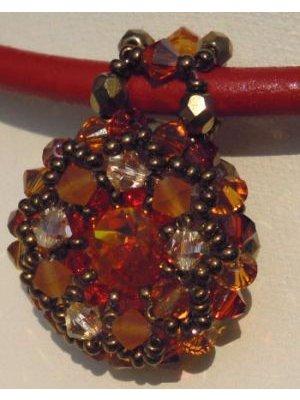 Pendentif Milos Oranger sur cuir rouge