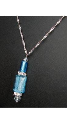Pendentif  Murano aquamarine sur chaîne