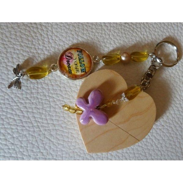 Porte-clé Coeur clé usb à graver Cabochon & papillon