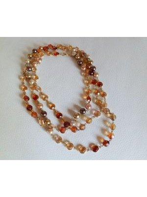 Sautoir fantaisie aux perles ambres et pêches