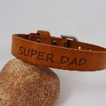 Bracelet Homme en cuir SUPER DAD ou à personnaliser coloris Camel