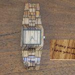 Montre homme grand cadran et bracelet en bois bambou  à personnaliser