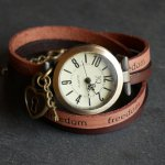 Montre double cuir Freedom coeur et clef