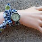 Montre bracelet tissu Liberty Bleu double tour