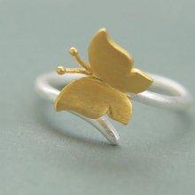 Bague en argent 925 et papillon dorée