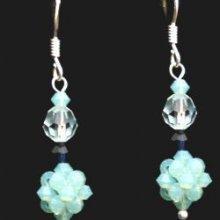 Boucles d'oreilles Boules de perles Bleu indigo