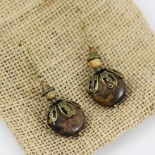 Boucles d'oreilles Bohème pierre palet bronze