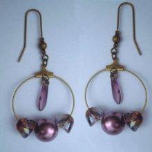 Boucles d'oreilles Créoles Crystal Lilac shadow