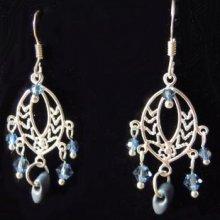 Boucles d'oreilles Chandelier Denim blue argent 925