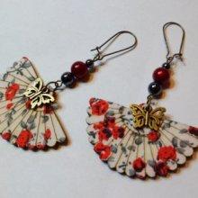 Boucles d'oreilles Eventails Rouges esprit Asiatique