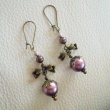 Boucles d'oreilles noeud perles parmes