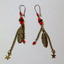 Boucles d'oreilles bronze plume rouge