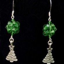Boucles d'oreilles Sapin de Noël vert