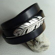 Bracelet cuir noir 3 tours Plume ajustable