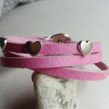Bracelet cuir Rose 3 tours Coeurs
