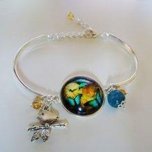 Bracelet cabochon Papillons et demi-joncs argentés