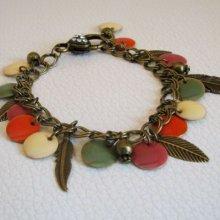 Bracelet chaîne bronze breloques Plumes et sequins