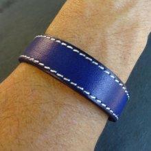 Bracelet en cuir bleu couture à personnaliser