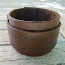 Bracelet manchette cuir Marron mixte à graver
