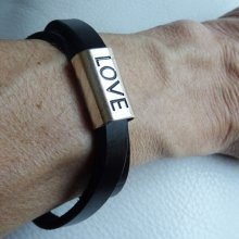 "Bracelet en cuir double tours ""LOVE"""