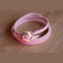 Bracelet cuir rose fin triple tour