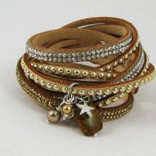 Bracelet manchette multi suédine strass Beige et perles