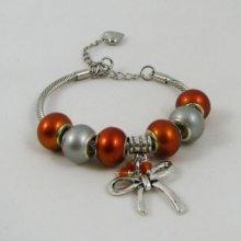 Bracelet argenté perles Orange et Noeud
