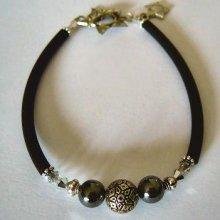 Bracelet Tube Noir perles Bali