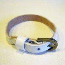 Bracelet cuir simple tour Blanc pour montre
