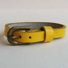 Bracelet cuir simple tour Jaune pour montre