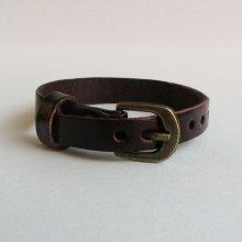 Bracelet cuir simple tour Marron foncé pour montre