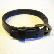 Bracelet cuir simple tour Noir pour montre