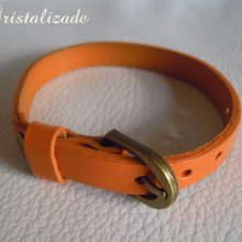 Bracelet cuir simple tour Orange pour montre
