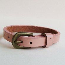 Bracelet cuir simple tour Rose pour montre