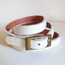 Bracelet cuir triple tour Blanc pour montre