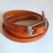Bracelet cuir triple tour Camel pour montre