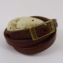 Bracelet cuir triple tour Marron foncé pour montre