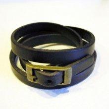 Bracelet cuir triple tour Noir pour montre