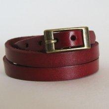 Bracelet cuir triple tour Rouge pour montre
