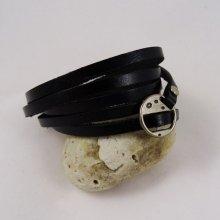 Bracelet cuir 5 tours Noir ajustable