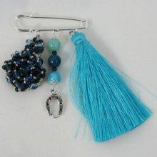 Broche Andros Denim Pompon turquoise