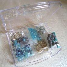 Boîte de perles Bleu Aquamarine cristal