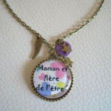 Collier pendentif cabochon Maman