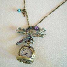 Collier pendentif montre Gousset bleu