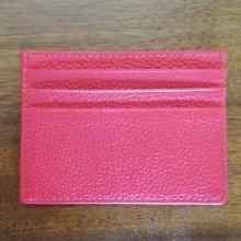 Porte-cartes en cuir fuchsia