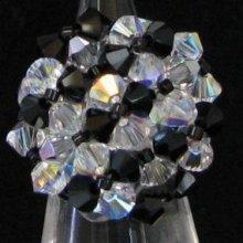 Bague Agate noire et cristal (en kit)