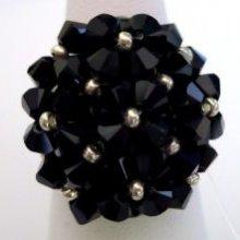 Bague en perles Agate noire (en kit)