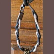 Kit bracelet/attache cordons cuir beige