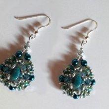 Kit boucles d'oreilles Argyle Bleu indien