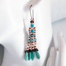 Kit boucles d'oreilles Daguine turquoise pêche
